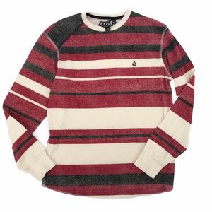 Volcom Red Striped Long Sleeve Thermal Size Small